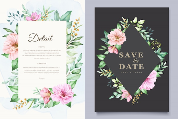Elegant wedding invitation cards template with watercolor cherry blossom design Free Vector