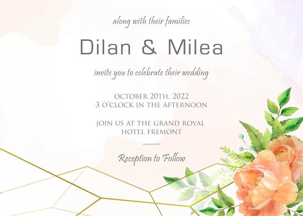 수채화 꽃 장식으로 우아한 결혼식 초대 카드 템플릿 프리미엄 벡터