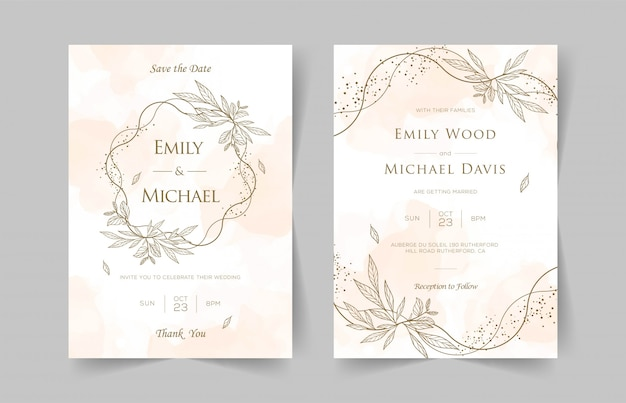 Elegant wedding invitation cards template with watercolor floral decoration Premium Vector