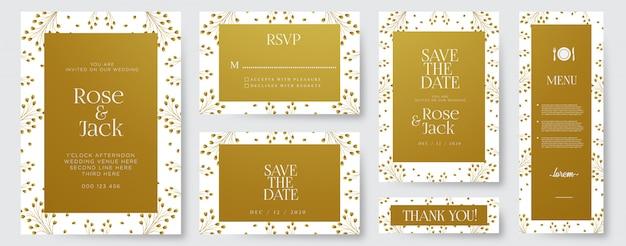 Элегантные свадебные приглашения шаблон с акварельными золотыми цветочными элементами Premium векторы