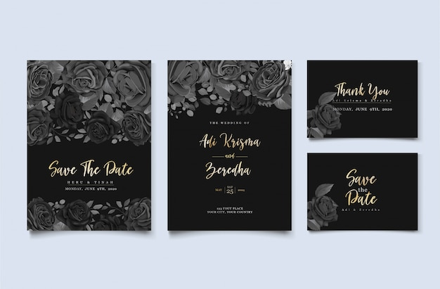 Elegant wedding invitation design with floral motif Free Vector