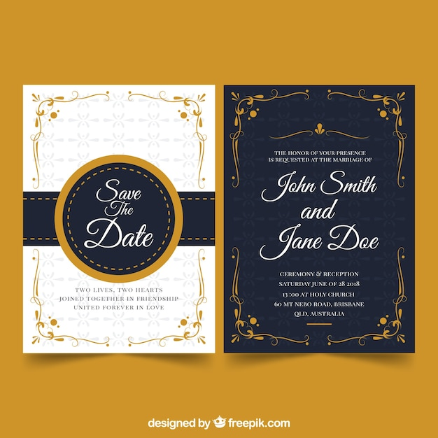 Elegant wedding invitation design vector free download elegant wedding invitation design free vector stopboris Images