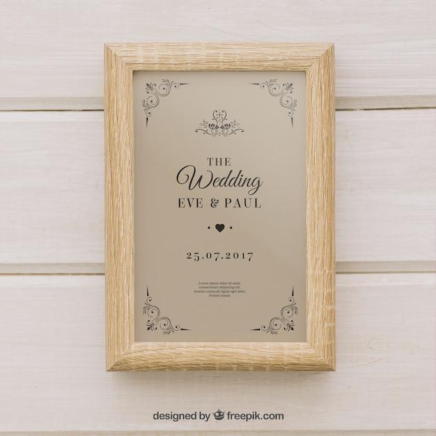Elegant Wedding Invitation In Retro Style Vector Free Download
