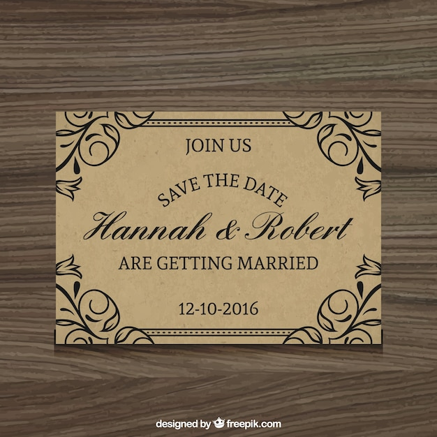 Elegant wedding invitation rustic style vector free download elegant wedding invitation rustic style free vector stopboris Image collections
