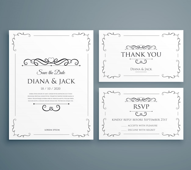 Elegant wedding invitation set Free Vector