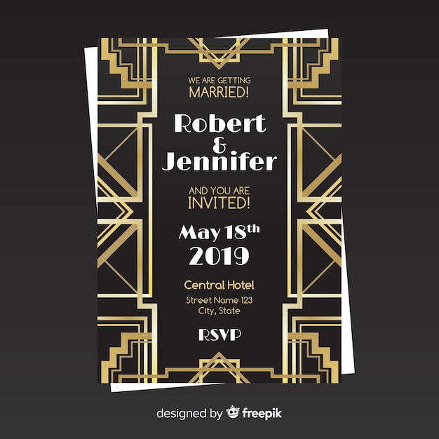 Elegant Wedding Invitation Template In Art Deco Style With Golden