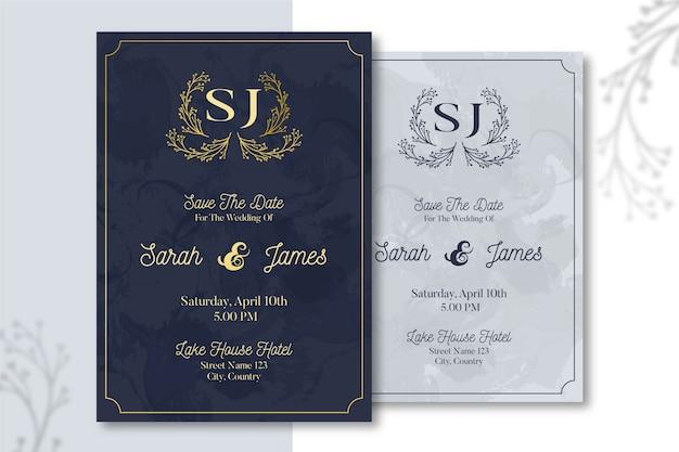 Elegant wedding invitation template concept Free Vector