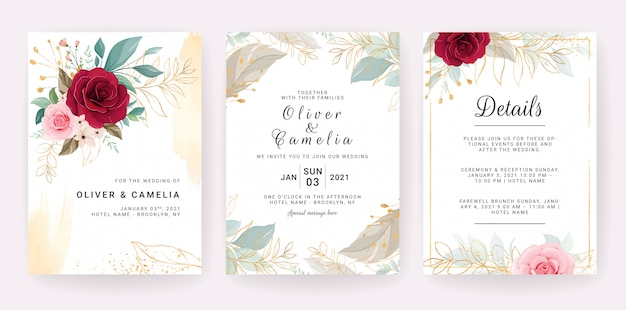Elegant wedding invitation template design of red and peach rose flowers and gold leaves Premium Vector