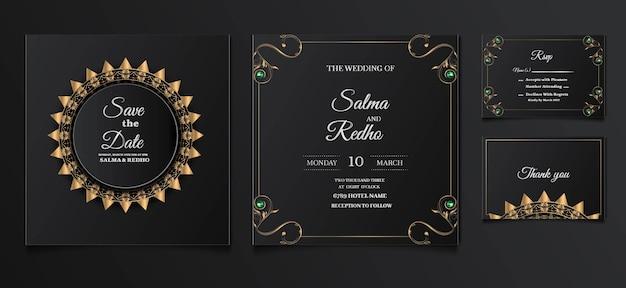 Insieme di progettazione del modello dell'invito di nozze elegante Vettore gratuito