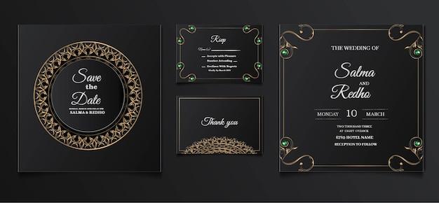 エレガントな結婚式の招待状のテンプレートデザインセット 無料ベクター