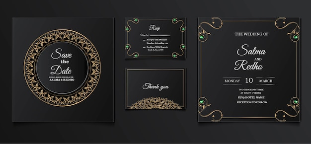 Elegant wedding invitation template design set Free Vector