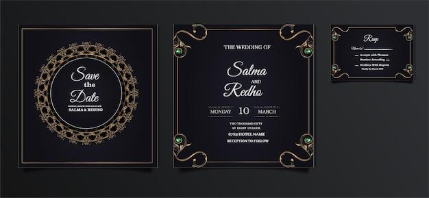 Элегантный дизайн шаблона свадебного приглашения set Premium векторы