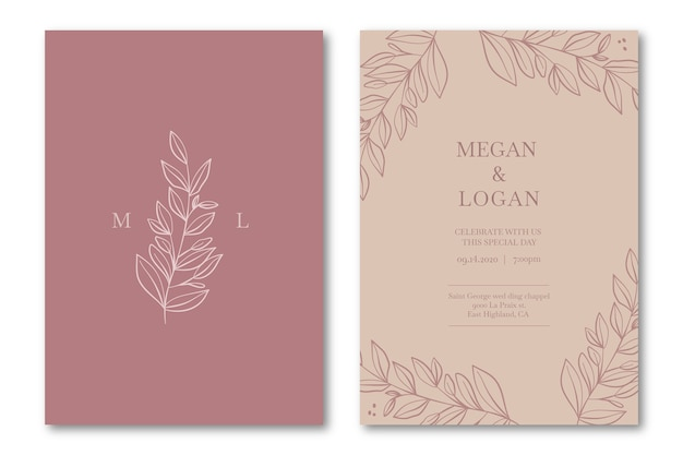 Elegant wedding invitation template in pink tones Free Vector