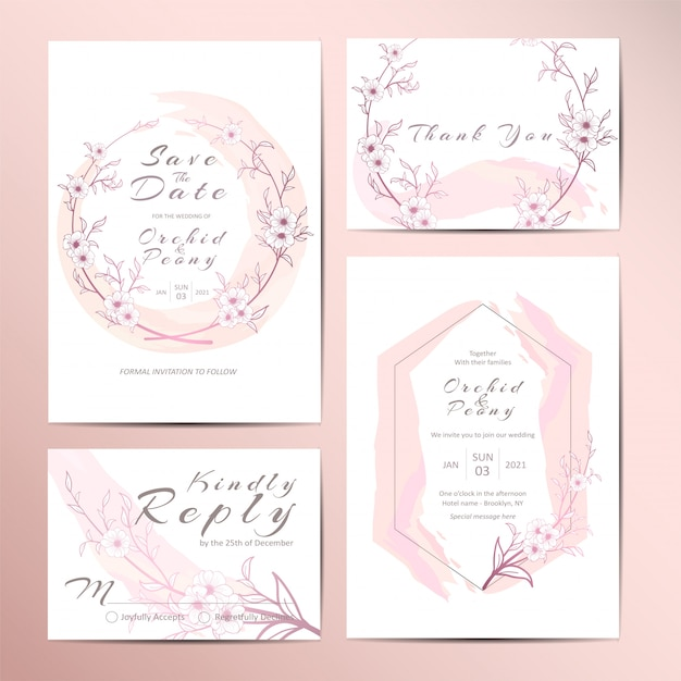 Elegant wedding invitation template set of outlined floral and watercolor background Premium Vector