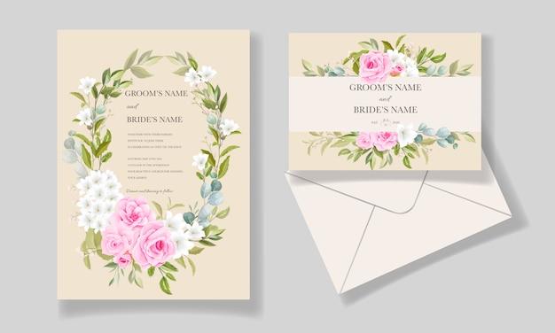Элегантный шаблон свадебного приглашения с красивой цветочной рамкой и бордюром Premium векторы