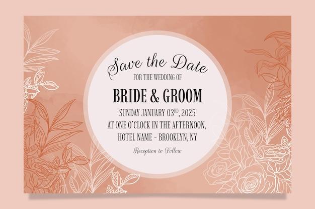 꽃 잎 장식으로 설정 우아한 결혼식 초대장 서식 파일 프리미엄 벡터