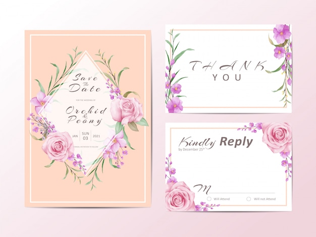 Elegant wedding invitation template set with roses and wild leaves Premium Vector