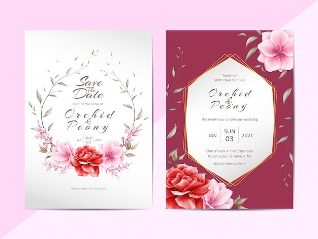 Elegant wedding invitation template set with watercolor floral Premium Vector