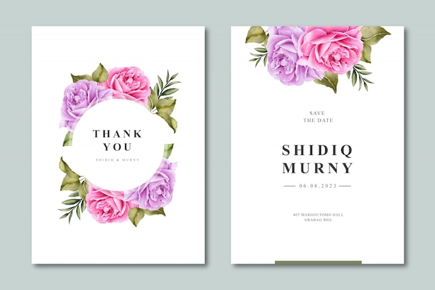 Elegant wedding invitation template with floral watercolor Premium Vector