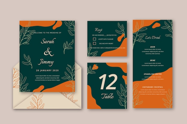 Elegant wedding invitation template with flowers Free Vector