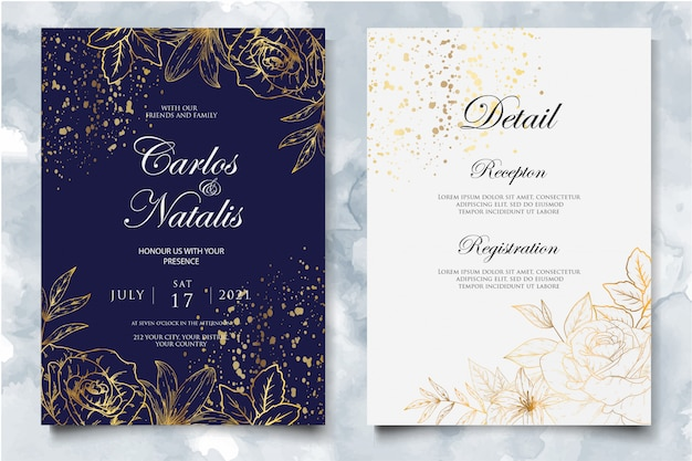 Элегантный шаблон свадебного приглашения с золотым цветочным декором Premium векторы