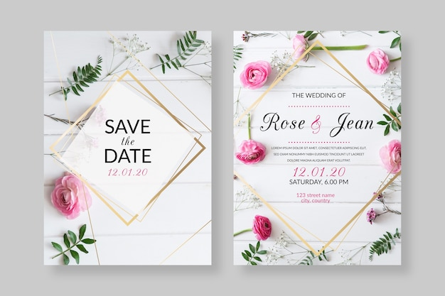 Elegant wedding invitation template with photo Free Vector
