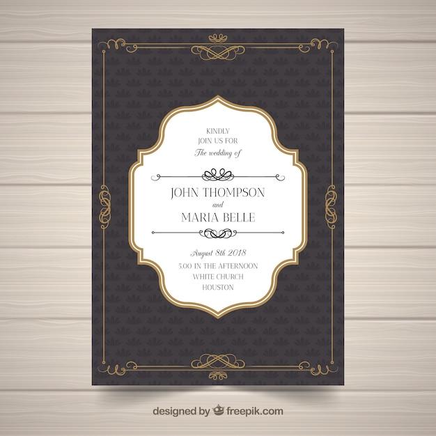 Elegant wedding invitation template with vintage style Free Vector