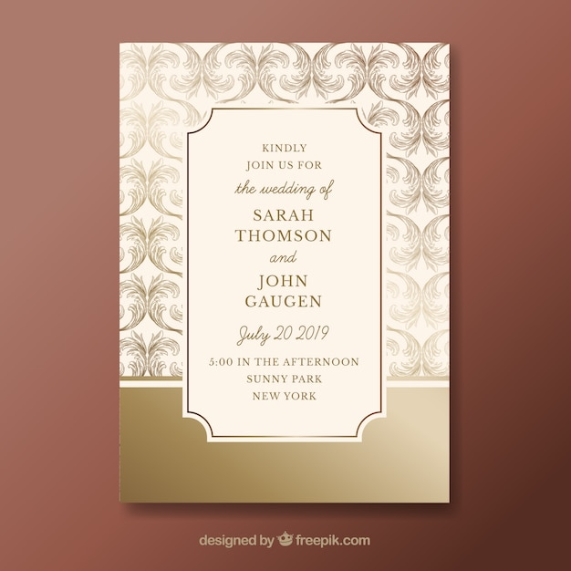 Elegant wedding invitation template with vintage style Free Vector