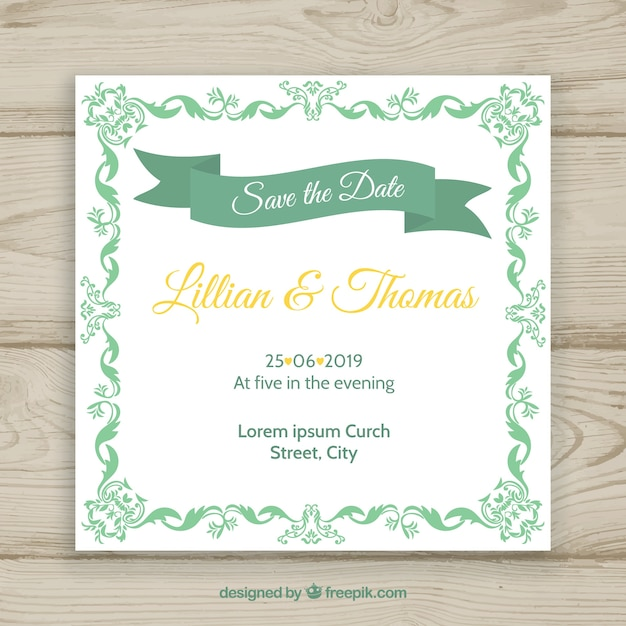 Elegant wedding invitation template with vintage style vector free elegant wedding invitation template with vintage style free vector stopboris Gallery