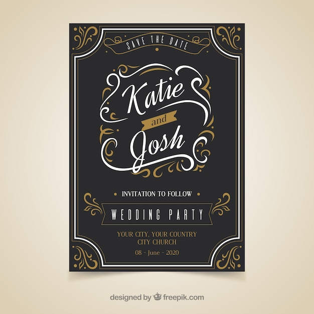 elegant wedding invitation template with vintage style vector free