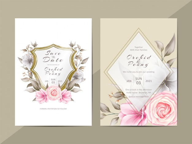 Elegant wedding invitation template with watercolor floral and crest Premium Vector