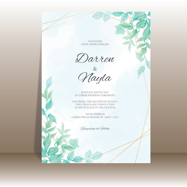 水彩の葉とエレガントな結婚式の招待状のテンプレート Premiumベクター