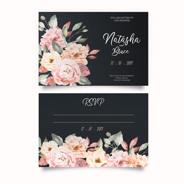 Elegant wedding invitation template Free Vector