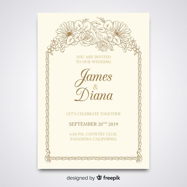 Elegant wedding invitation template Vector | Free Download