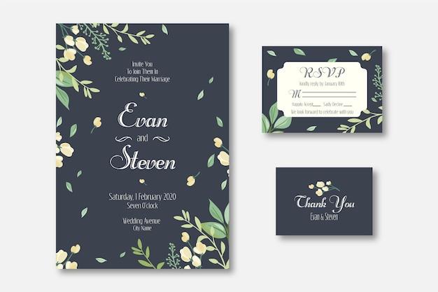 Elegant wedding invitation template Free Vector