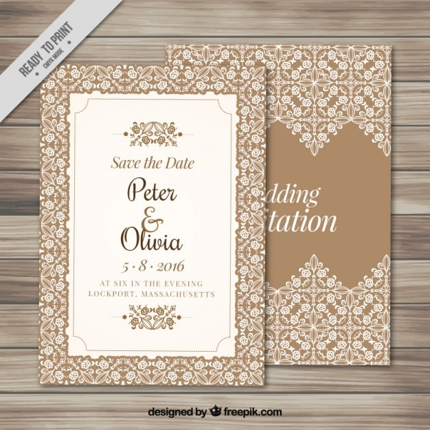 Elegant Wedding Invitation With An Ornamental Frame Vector Free