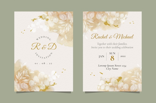 Elegant wedding invitation with beautiful watercolor leaves Premium Vector