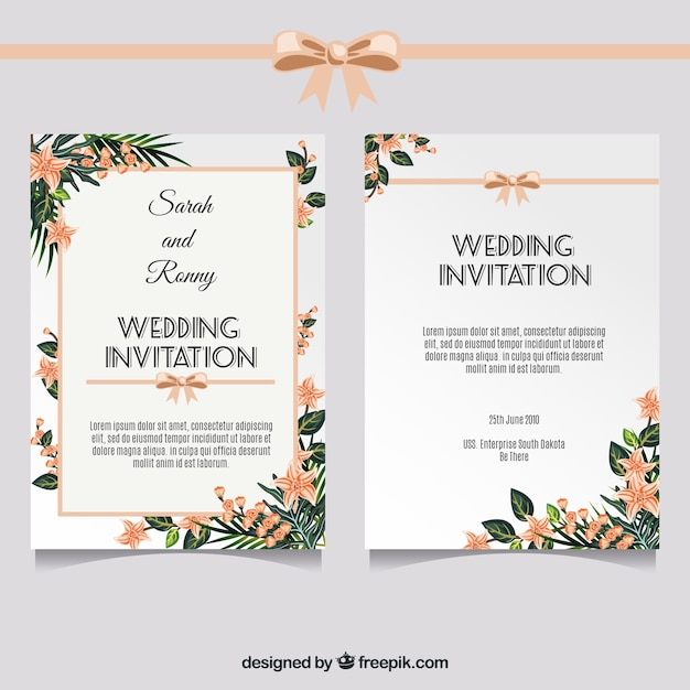 Elegant wedding invitation with floral decoration vector free download elegant wedding invitation with floral decoration free vector stopboris Choice Image