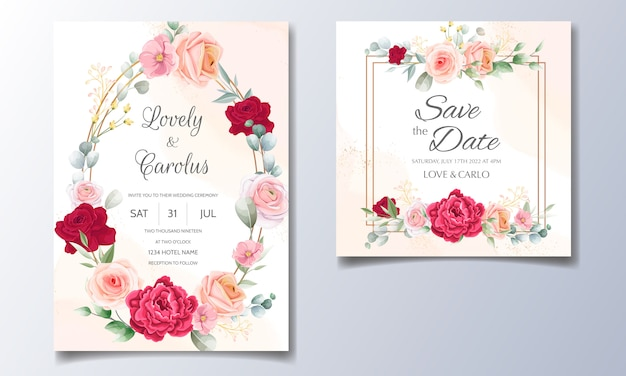 Elegant wedding invitation with floral watercolor backgroud Premium Vector