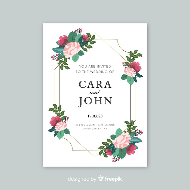 Elegant wedding invitation with flowers template Free Vector