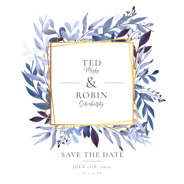 Elegant wedding invitation with golden frame and watercolor leaves