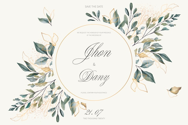 Elegant wedding invitation with golden and green leaves Free Vector