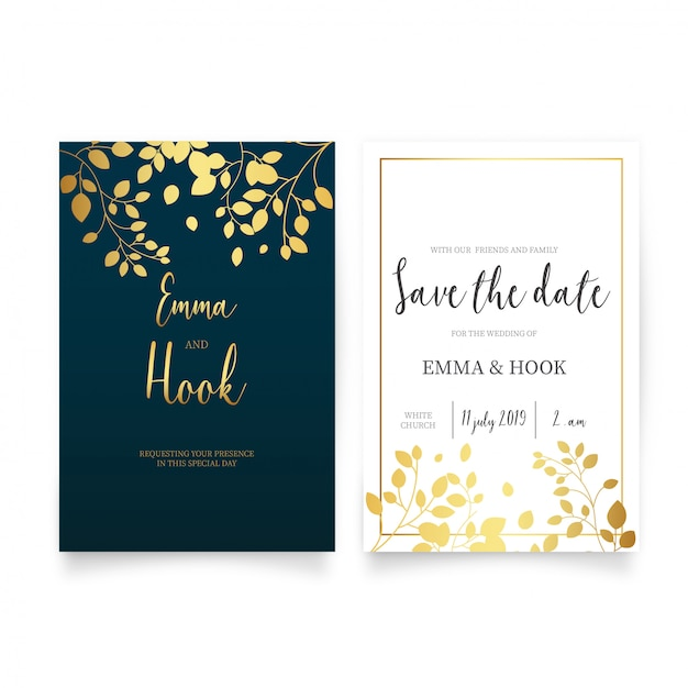 Elegant wedding invitation with golden leaves Free Vector