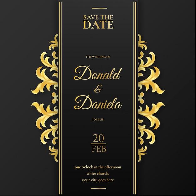 Elegant wedding invitation with golden ornaments Free Vector