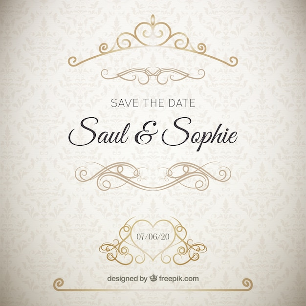 Elegant wedding invitation with golden ornaments Free Vector