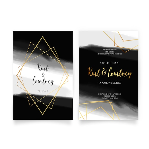 Elegant Wedding Invitation With Golden Shapes Vector Free Download