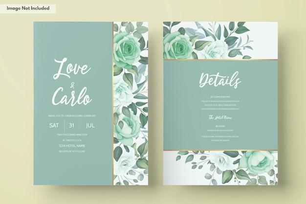 Elegante invito a nozze con fiori e foglie verdi Vettore gratuito