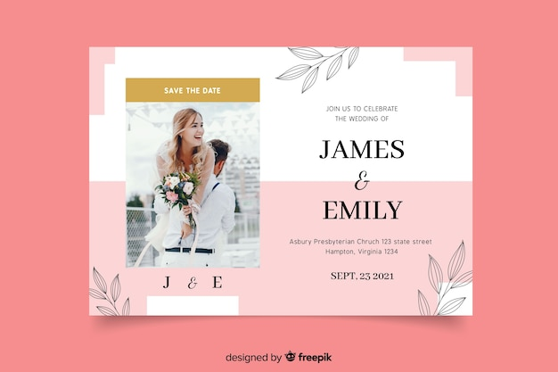 Elegant wedding invitation with groom and bride Free Vector