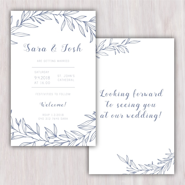 Elegant wedding invitation with hand drawn elements Free Vector
