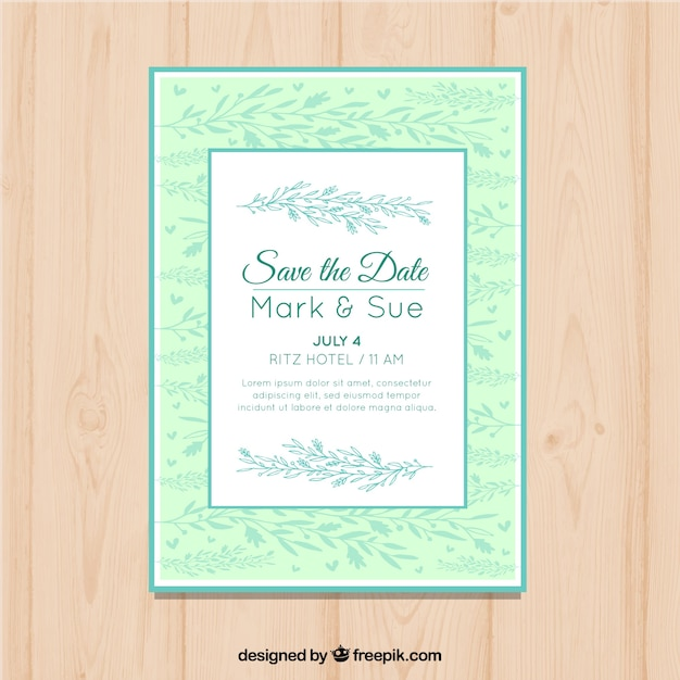 Elegant Wedding Invitation With Leaves At The Background